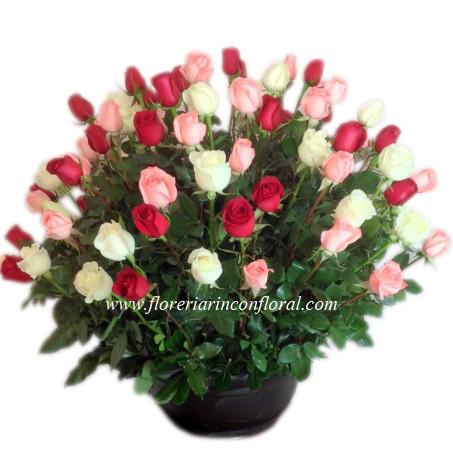 100 Rosas Rojas Blancas Y Rosas En Base De Ceramica Codigo Rf046