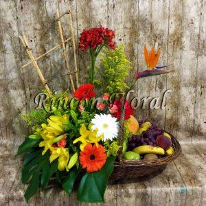Canasta Con Flores Y Frutas 001 Código Rf061