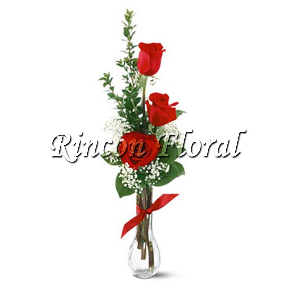 Violetero Con 3 Rosas Rojas Código Rf079