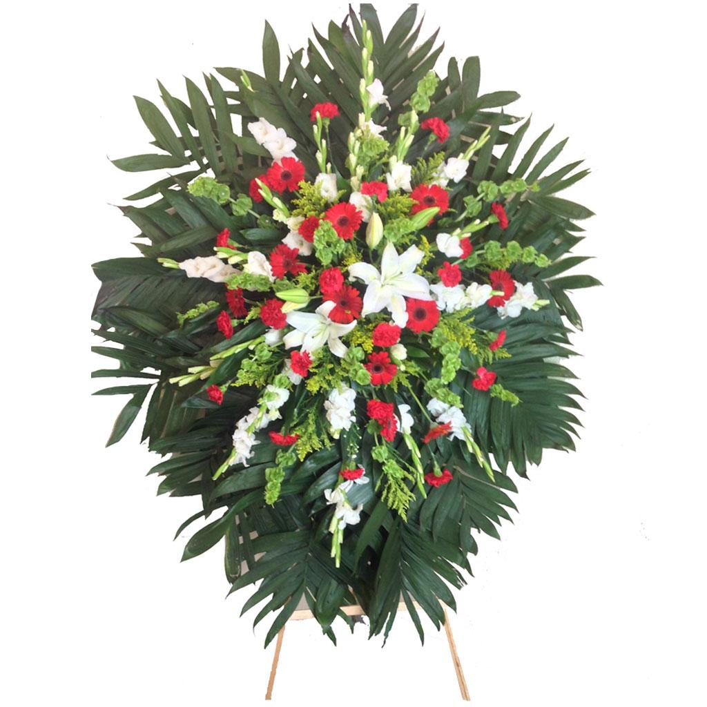 Medallon Floral Con Clavel Rojo Y Blanco Código Rf119